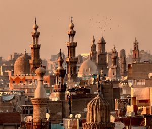 Preview wallpaper city, towers, roofs, architecture, aerial view, vintage