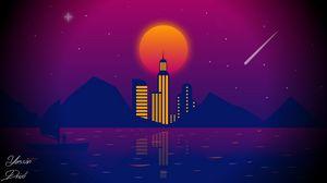 Preview wallpaper city, vector, art, night, moon