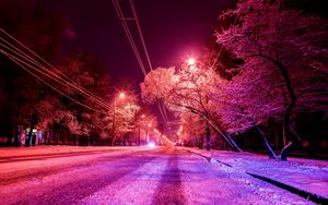 Preview wallpaper city, winter, photoshop, road, snow