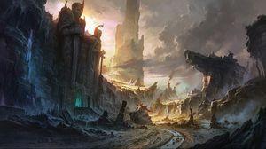 Preview wallpaper cliffs, destruction, city, landscape, waterfall