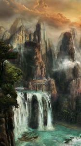 Preview wallpaper cliffs, waterfalls, mist, nature