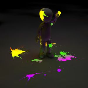 Preview wallpaper clipart, person, paint, stains, neon, luminescence, fluorescence