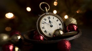 Preview wallpaper clock, balls, decoration, vintage, new year, christmas