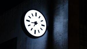 Preview wallpaper clock, dial, backlight, building, dark