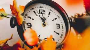 Preview wallpaper clock, dial, leaves, yellow