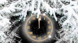 Preview wallpaper clock, dial, needles, twigs, snow, midnight