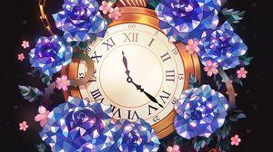 Preview wallpaper clock, flowers, art, pocket watch, chain