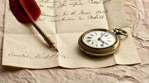 Preview wallpaper clock, letter, paper, ink, pen, feather