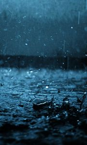 Preview wallpaper close-up, drop, black, blue, rain