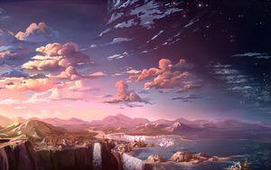 Preview wallpaper clouds, mountains, art, waterfalls, sky