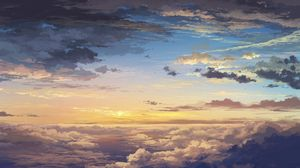 Preview wallpaper clouds, sky, art, sunset, elevation, landscape
