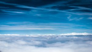 Preview wallpaper clouds, sky, blue, shades, lines, air, freshness, height