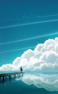 Preview wallpaper clouds, sky, bridge, people, reflection, sea