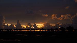 Preview wallpaper clouds, sunset, horizon, trees, sky, night, dark
