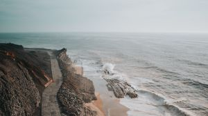 Preview wallpaper coast, aerial view, sea, road, cliff