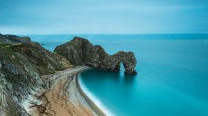Preview wallpaper coast, beach, rock, sea, sand