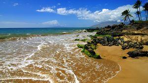 Preview wallpaper coast, beach, sea, island, land, tropics