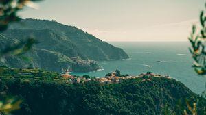 Preview wallpaper coast, mountains, town, sea, landscape