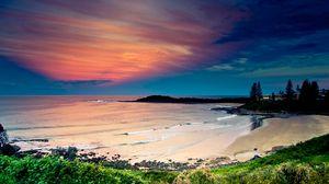 Preview wallpaper coast, ocean, waves, sand, beach, vegetation, sky, evening, bay, colors, tranquillity