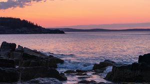 Preview wallpaper coast, rocks, sea, sunset, dark