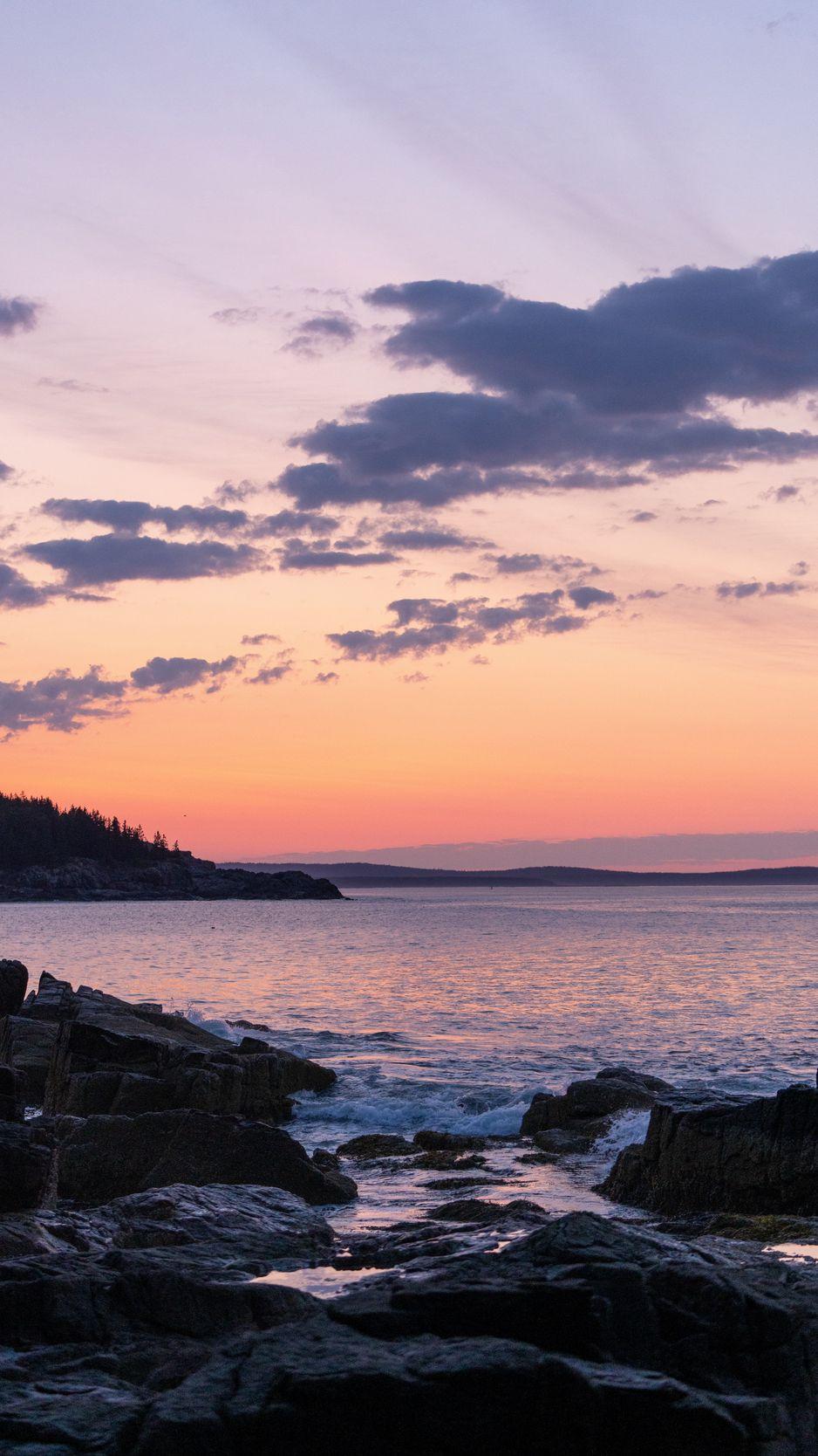 938x1668 Wallpaper coast, rocks, sea, sunset, dark