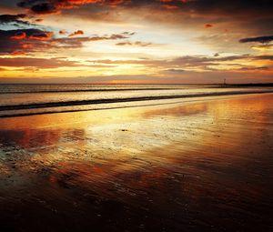 Preview wallpaper coast, sand, beach, sea, waves, decline, evening, whisper, orange, romanticism, horizon, tranquillity, particles, wet