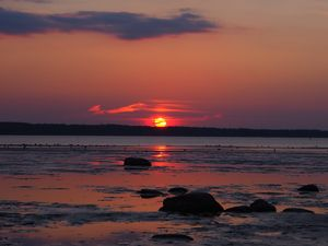 Preview wallpaper coast, sea, horizon, sun, sunset, dark