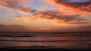 Preview wallpaper coast, sea, waves, clouds, sunset, dark