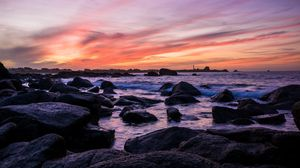 Preview wallpaper coast, stones, sea, water, sunset, landscape