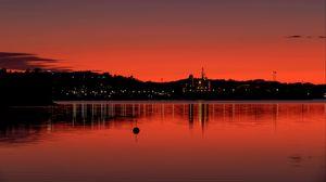 Preview wallpaper coast, water, twilight, dark, red