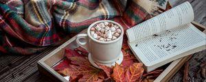 Preview wallpaper cocoa, marshmallow, plaid, book, autumn