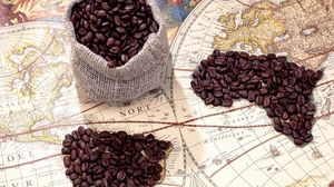 Preview wallpaper coffee, bag, grains, card