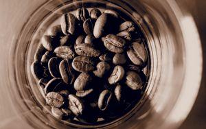 Preview wallpaper coffee beans, coffee, jar, brown, macro