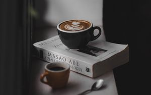 Preview wallpaper coffee, book, windowsill, comfort, reading