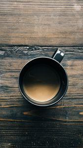 Preview wallpaper coffee, cup, wooden surface