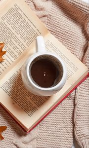 Preview wallpaper coffee, drink, cup, book, autumn, aesthetics
