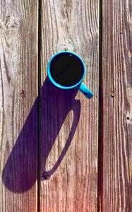 Preview wallpaper coffee, drink, mug, boards, wood, shadow