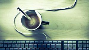 Preview wallpaper coffee, keyboard, desk