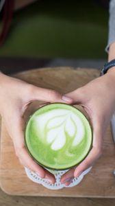 Preview wallpaper coffee, latte, mint, hands, foam