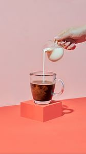Preview wallpaper coffee, milk, drink, cup, hand