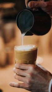Preview wallpaper coffee, milk, glass, hand, drink