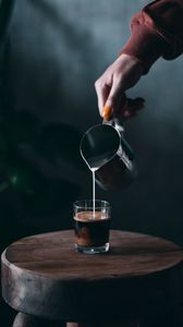 Preview wallpaper coffee, milk, glass, hand