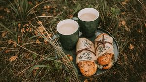 Preview wallpaper coffee, sandwich, picnic, nature, rest