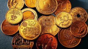 Preview wallpaper coins, different, denomination, date, money