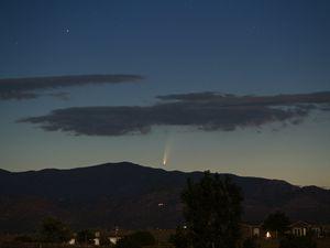 Preview wallpaper comet, meteorite, hills, bushes, evening
