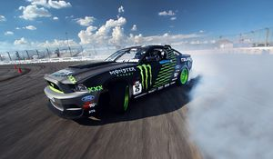 Preview wallpaper competition, drift, sports car, mustang, clouds, ford, gt, smoke