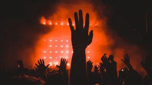 Preview wallpaper concert, crowd, hands, dark