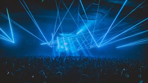 Preview wallpaper concert, crowd, people, light, laser, party