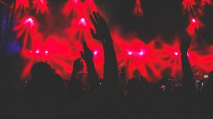 Preview wallpaper concert, hands, silhouettes, light, music