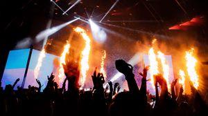 Preview wallpaper concert, stage, fire, spotlights, dark